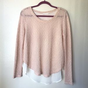Lush Light Pink and Cream Sweater Top Large